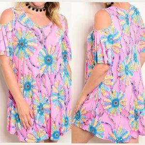 Plus Size Pink Cold Shoulder Tunic Dress Top 2X 3X